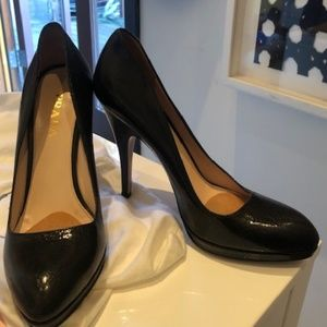 PRADA Crinkled Patent Leather Platform Heels